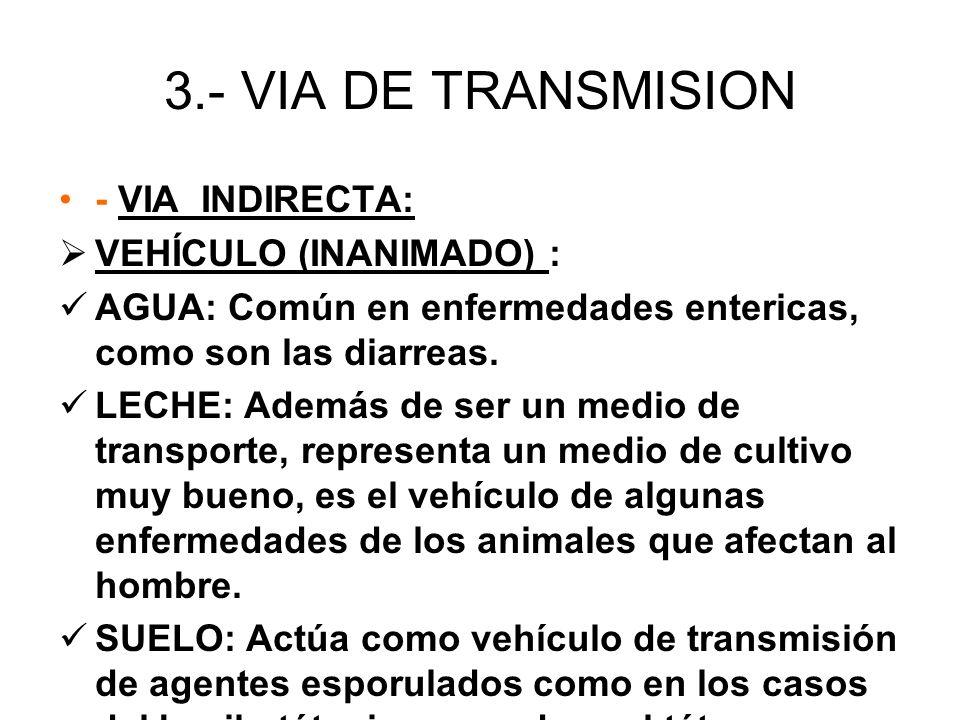 3.- VIA DE TRANSMISION - VIA INDIRECTA: VEHÍCULO (INANIMADO) : AGUA: Común en enfermedades entericas, como son las diarreas. LECHE: Además de ser un m