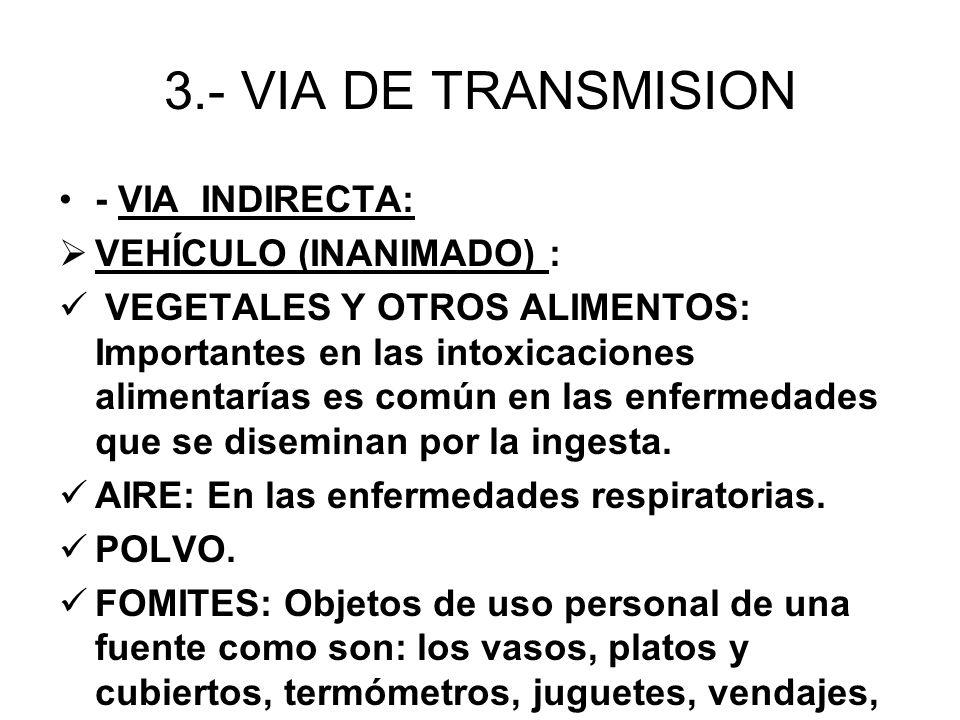 3.- VIA DE TRANSMISION - VIA INDIRECTA: VEHÍCULO (INANIMADO) : VEGETALES Y OTROS ALIMENTOS: Importantes en las intoxicaciones alimentarías es común en