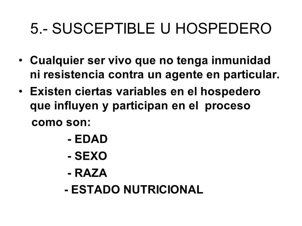 5.- SUSCEPTIBLE U HOSPEDERO Cualquier ser vivo que no tenga inmunidad ni resistencia contra un agente en particular. Existen ciertas variables en el h