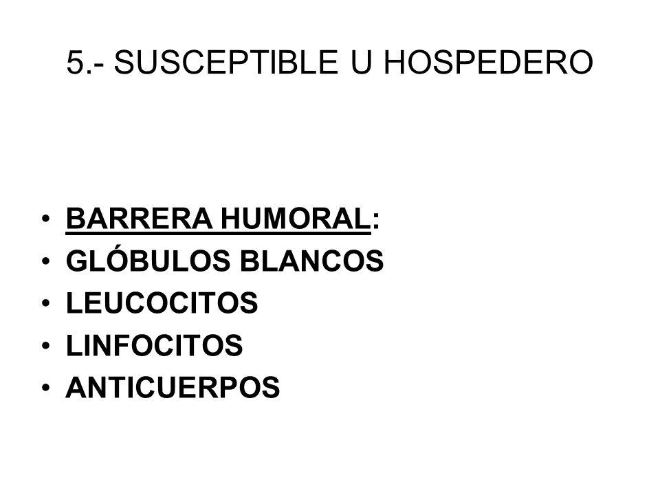 5.- SUSCEPTIBLE U HOSPEDERO BARRERA HUMORAL: GLÓBULOS BLANCOS LEUCOCITOS LINFOCITOS ANTICUERPOS