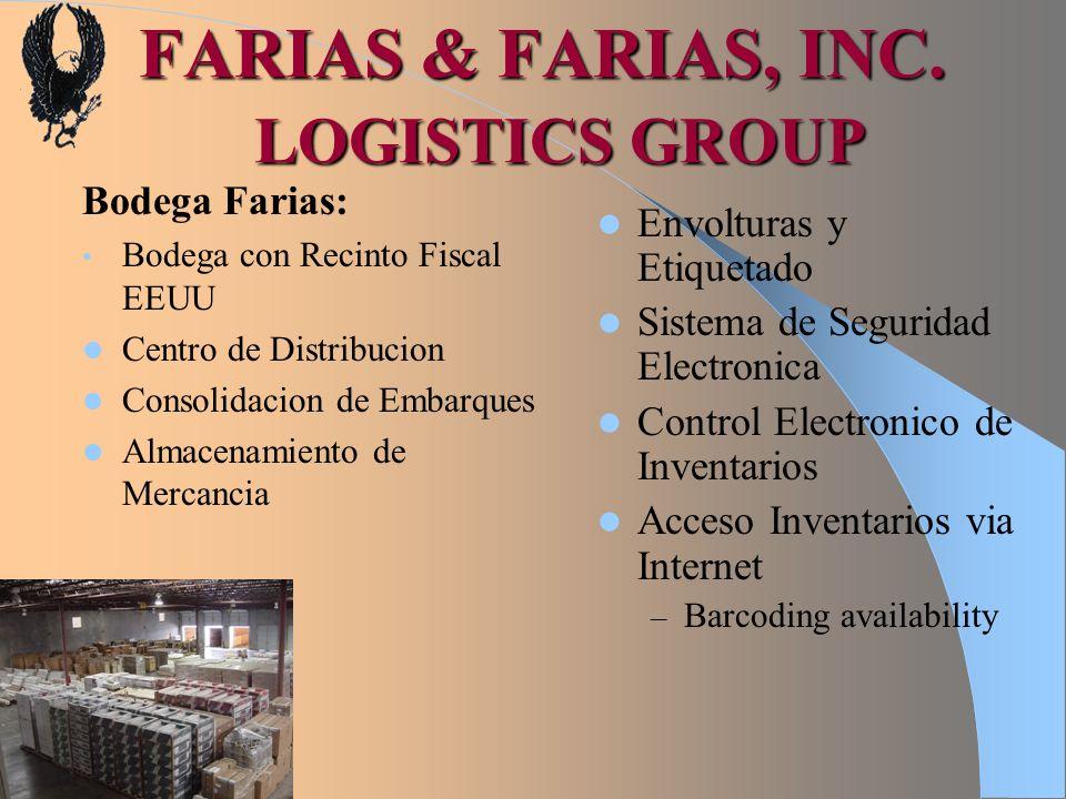FARIAS & FARIAS, INC. LOGISTICS GROUP Bodega Farias: Bodega con Recinto Fiscal EEUU Centro de Distribucion Consolidacion de Embarques Almacenamiento d