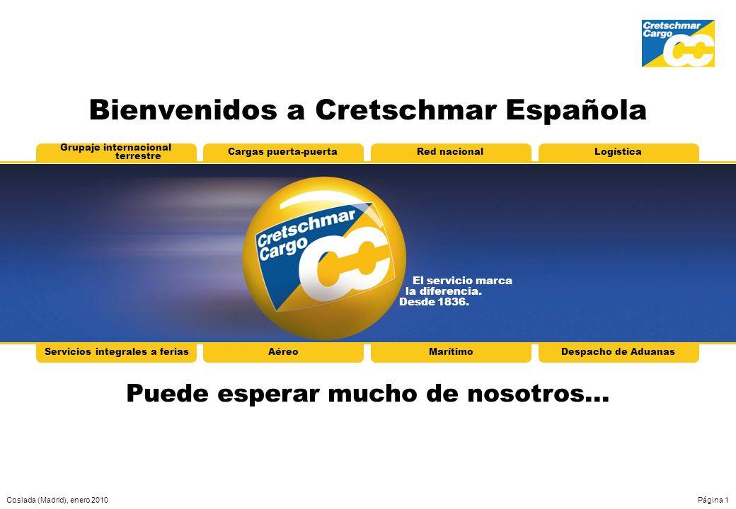 Coslada (Madrid), enero 2010Página 1 El servicio marca la diferencia. Desde 1836. Grupaje internacional terrestre Cargas puerta-puertaRed nacionalLogí