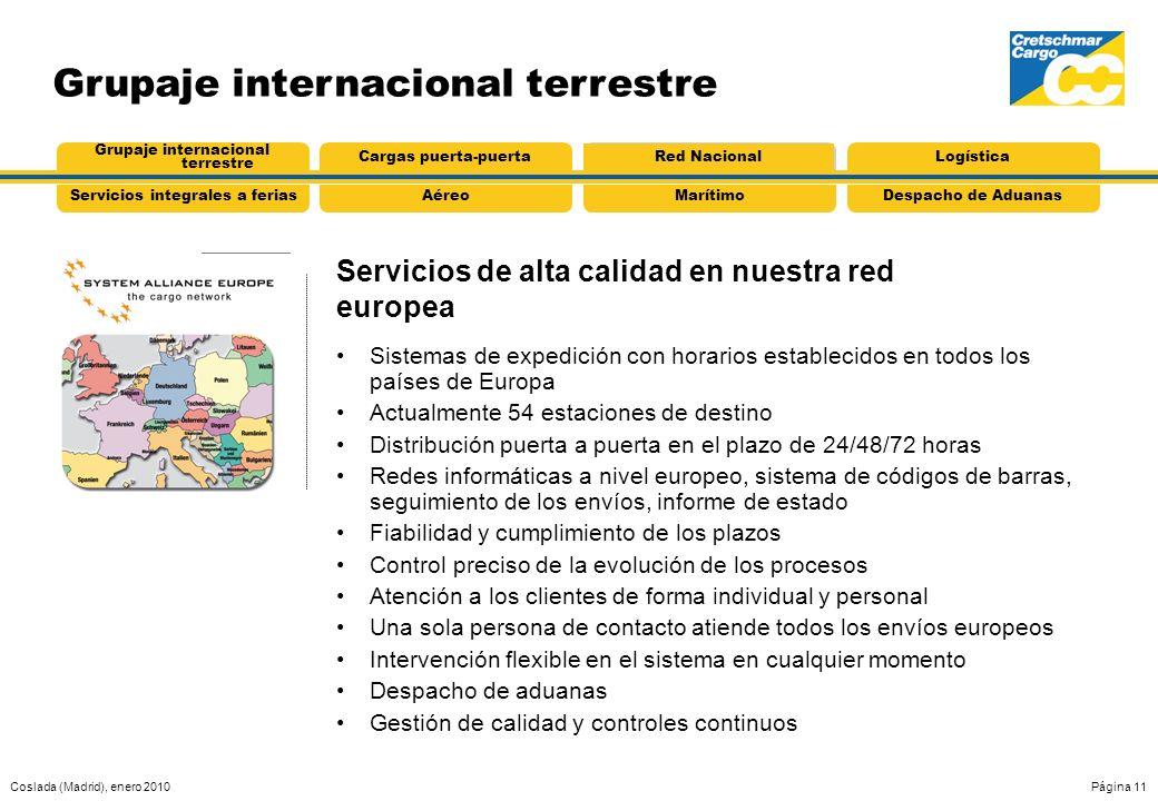 Coslada (Madrid), enero 2010Página 11 Grupaje internacional terrestre Sistemas de expedición con horarios establecidos en todos los países de Europa A
