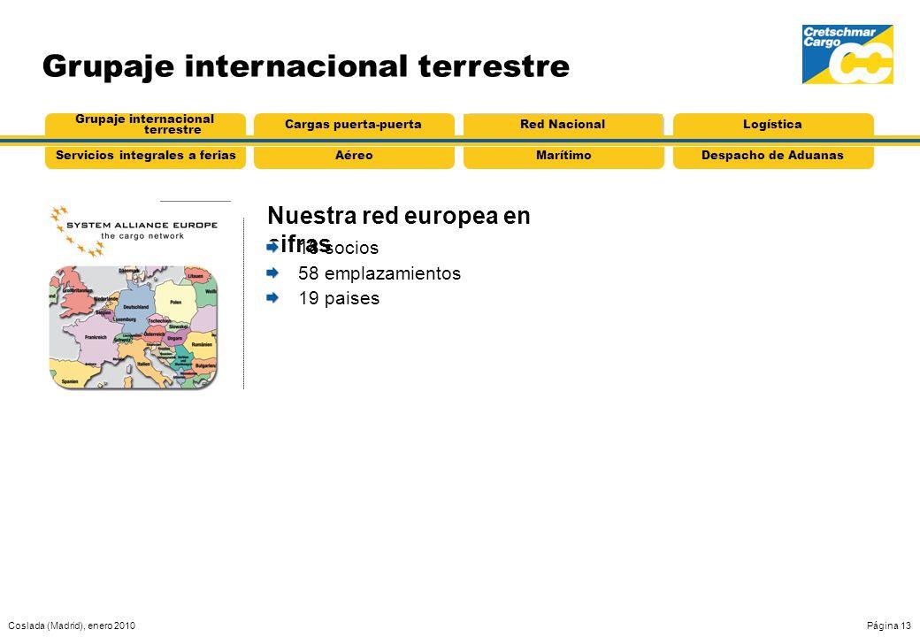 Coslada (Madrid), enero 2010Página 13 Grupaje internacional terrestre Nuestra red europea en cifras AéreoServicios integrales a feriasMarítimoDespacho