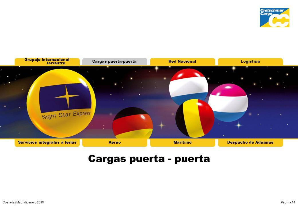Coslada (Madrid), enero 2010Página 14 Grupaje internacional terrestre Cargas puerta-puertaRed NacionalLogística Cargas puerta - puerta Servicios integ