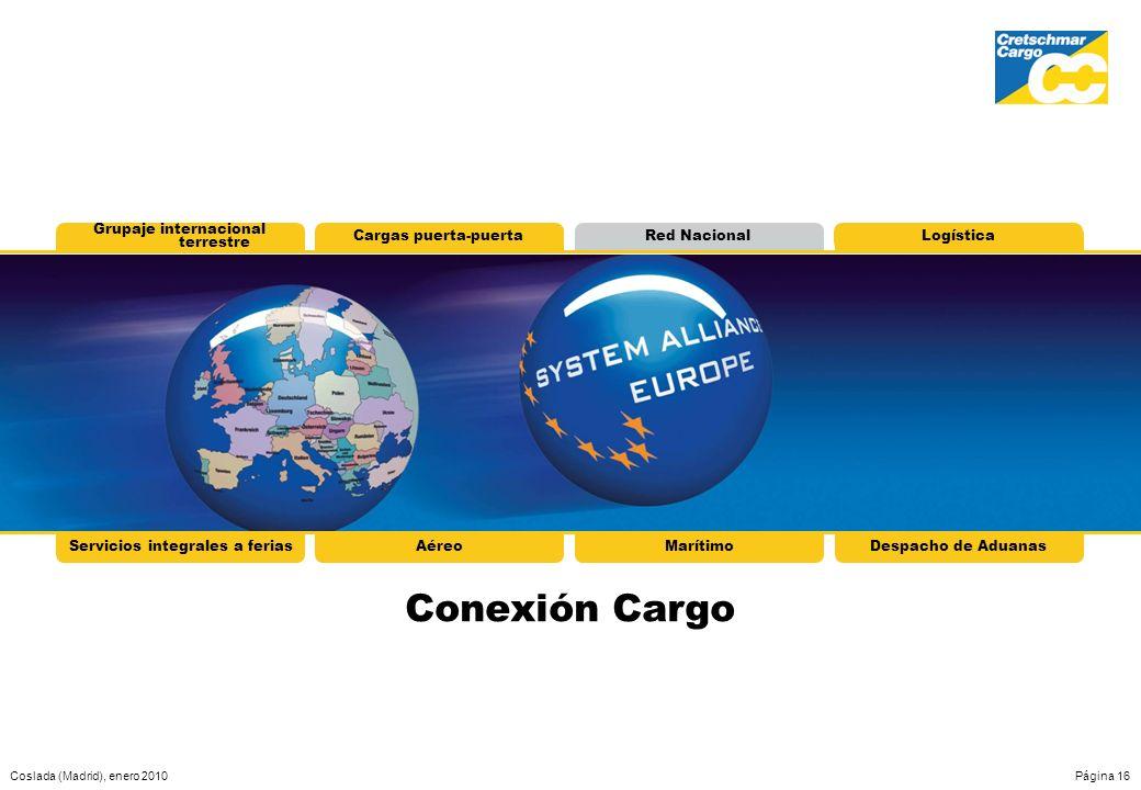 Coslada (Madrid), enero 2010Página 16 Grupaje internacional terrestre Cargas puerta-puertaRed NacionalLogística Conexión Cargo Servicios integrales a
