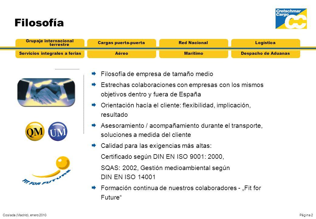 Coslada (Madrid), enero 2010Página 2 Filosofía Filosofía de empresa de tamaño medio Estrechas colaboraciones con empresas con los mismos objetivos den