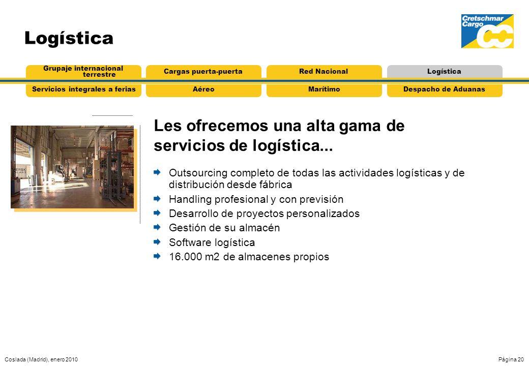 Coslada (Madrid), enero 2010Página 20 AéreoServicios integrales a feriasMarítimoDespacho de Aduanas Grupaje internacional terrestre Cargas puerta-puer
