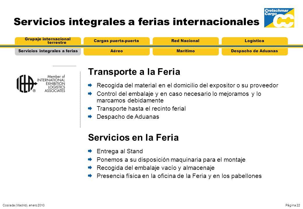Coslada (Madrid), enero 2010Página 22 Servicios integrales a ferias internacionales Transporte a la Feria AéreoServicios integrales a feriasMarítimoDe