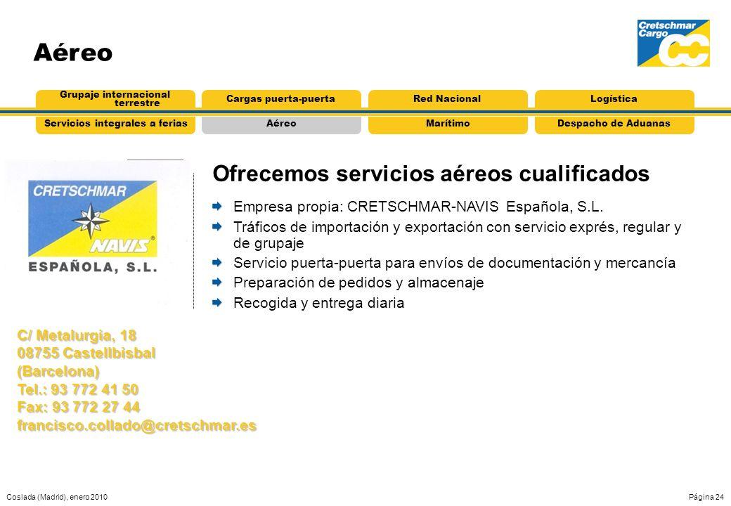 Coslada (Madrid), enero 2010Página 24 AéreoServicios integrales a feriasMarítimoDespacho de Aduanas Grupaje internacional terrestre Cargas puerta-puer