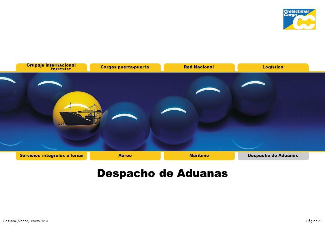 Coslada (Madrid), enero 2010Página 27 Servicios integrales a feriasAéreoMarítimoDespacho de Aduanas Grupaje internacional terrestre Cargas puerta-puer