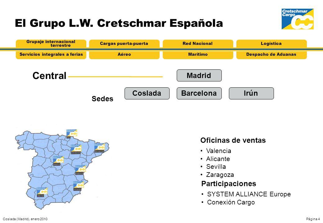 Coslada (Madrid), enero 2010Página 4 El Grupo L.W. Cretschmar Española Central Oficinas de ventas Valencia Alicante Sevilla Zaragoza Sedes AéreoServic