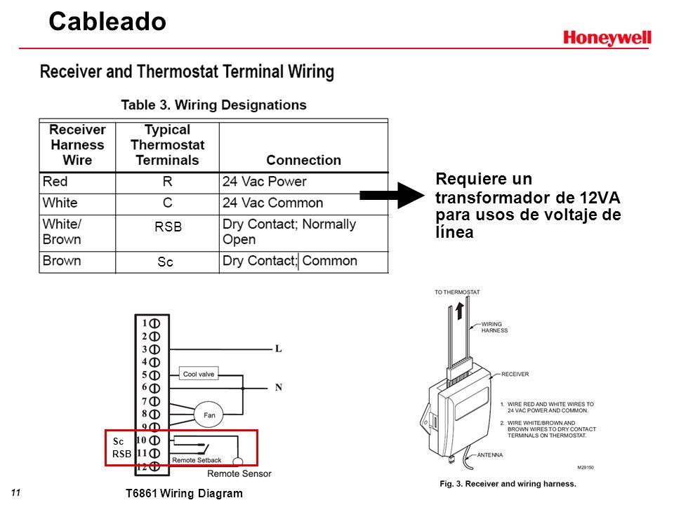 11 Cableado RSB Sc RSB Requiere un transformador de 12VA para usos de voltaje de línea T6861 Wiring Diagram
