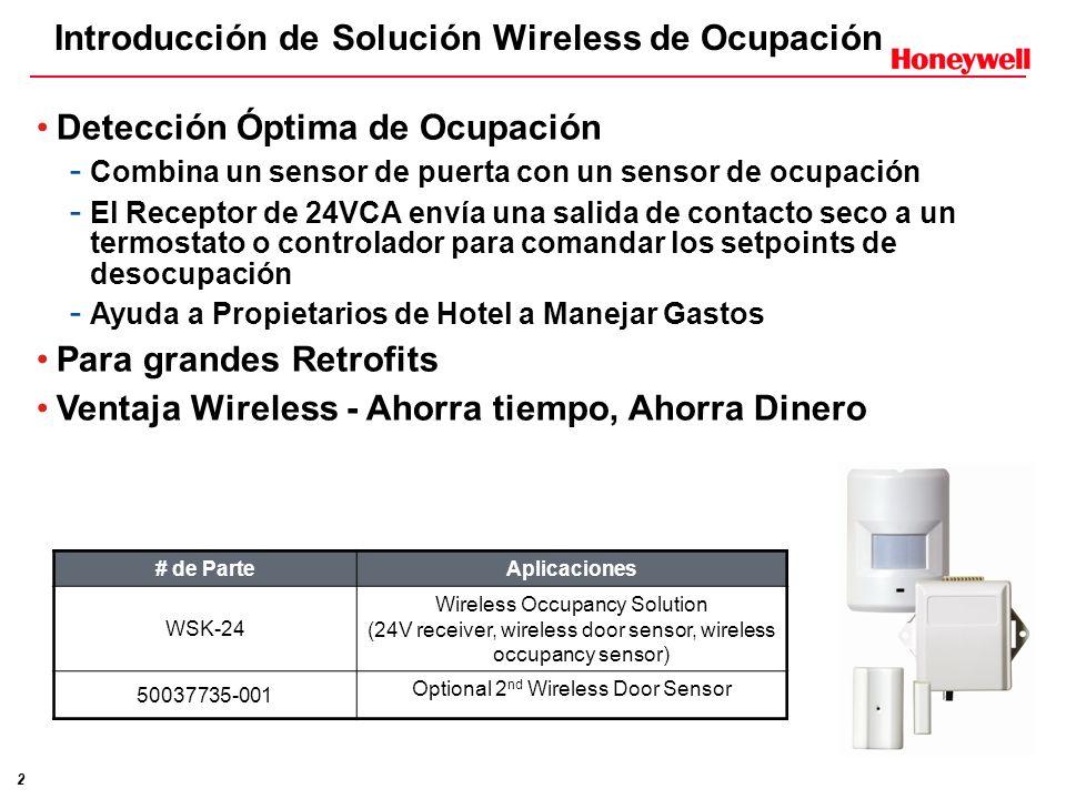 2 Introducción de Solución Wireless de Ocupación Detección Óptima de Ocupación - Combina un sensor de puerta con un sensor de ocupación - El Receptor