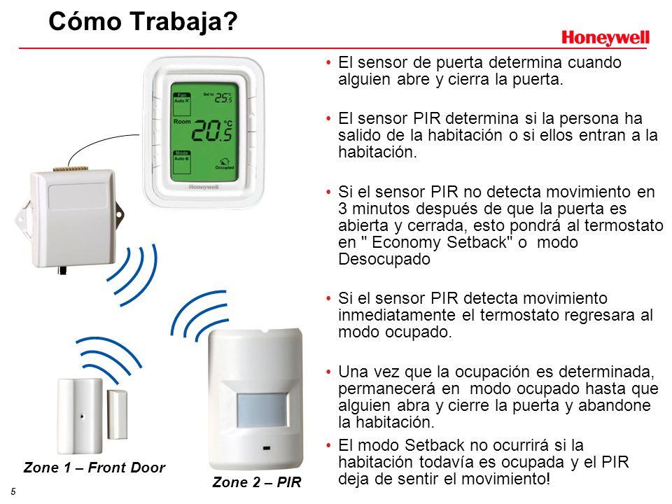 5 Cómo Trabaja? El sensor de puerta determina cuando alguien abre y cierra la puerta. El sensor PIR determina si la persona ha salido de la habitación