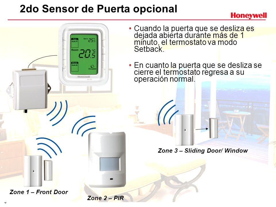 6 2do Sensor de Puerta opcional Cuando la puerta que se desliza es dejada abierta durante más de 1 minuto, el termostato va modo Setback. En cuanto la