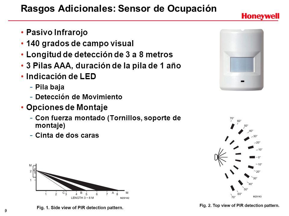9 Rasgos Adicionales: Sensor de Ocupación Pasivo Infrarojo 140 grados de campo visual Longitud de detección de 3 a 8 metros 3 Pilas AAA, duración de l