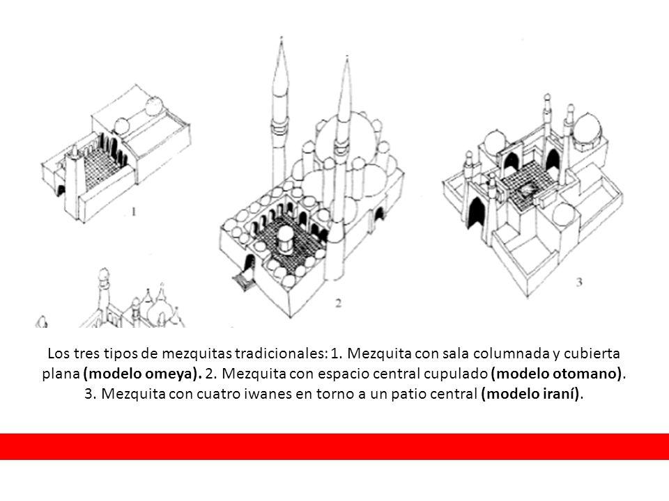 Los tres tipos de mezquitas tradicionales: 1. Mezquita con sala columnada y cubierta plana (modelo omeya). 2. Mezquita con espacio central cupulado (m