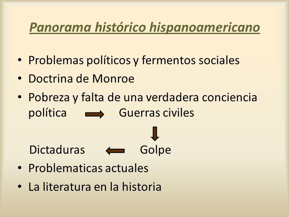 Panorama histórico hispanoamericano Problemas políticos y fermentos sociales Doctrina de Monroe Pobreza y falta de una verdadera conciencia política G