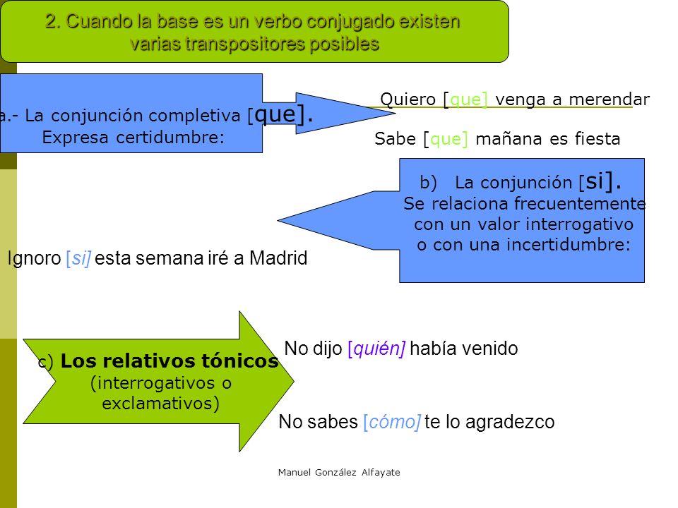 Manuel González Alfayate TIPOS DE TRANSPOSITORES Transpositores a categoría nominal. Distinguimos dos posibilidades: que la base sea verbal o no 1.Cua