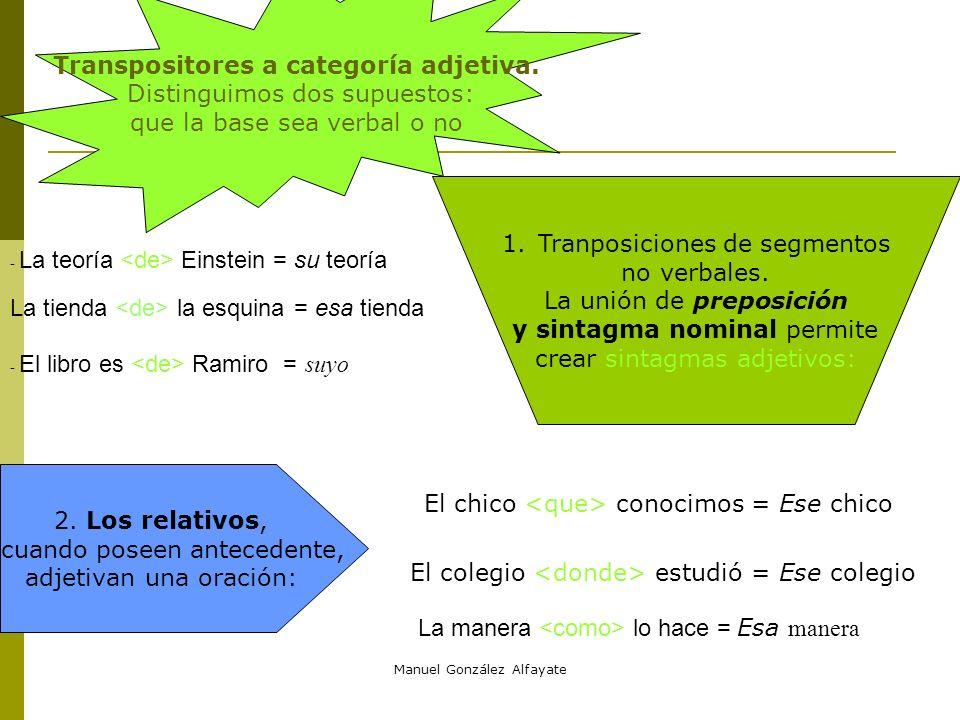 Manuel González Alfayate 2. Cuando la base es un verbo conjugado existen varias transpositores posibles a.- La conjunción completiva [ que]. Expresa c