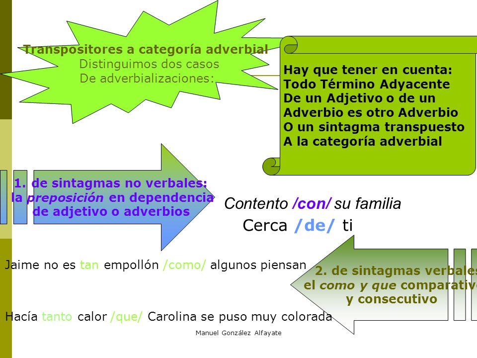 Manuel González Alfayate Transpositores a categoría adjetiva. Distinguimos dos supuestos: que la base sea verbal o no 1.Tranposiciones de segmentos no