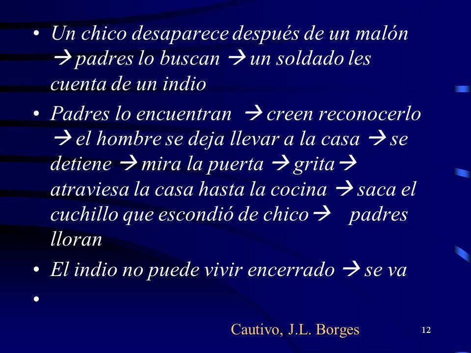 12 Cautivo, J.L. Borges Un chico desaparece después de un malón padres lo buscan un soldado les cuenta de un indio Padres lo encuentran creen reconoce