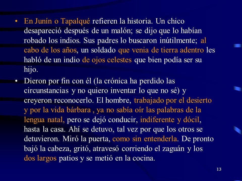 13 En Junín o Tapalqué refieren la historia. Un chico desapareció después de un malón; se dijo que lo habían robado los indios. Sus padres lo buscaron