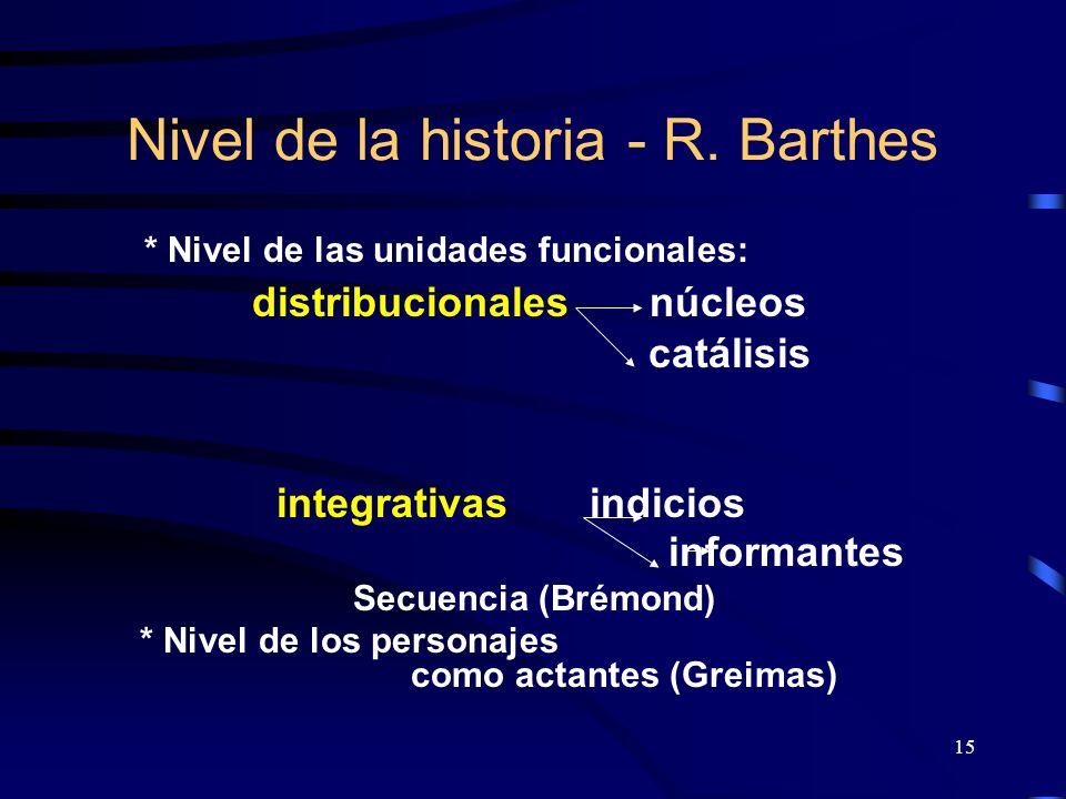 15 Nivel de la historia - R. Barthes * Nivel de las unidades funcionales: distribucionales núcleos catálisis integrativas indicios informantes Secuenc