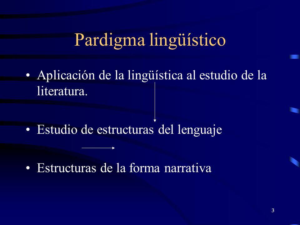 3 Pardigma lingüístico Aplicación de la lingüística al estudio de la literatura. Estudio de estructuras del lenguaje Estructuras de la forma narrativa