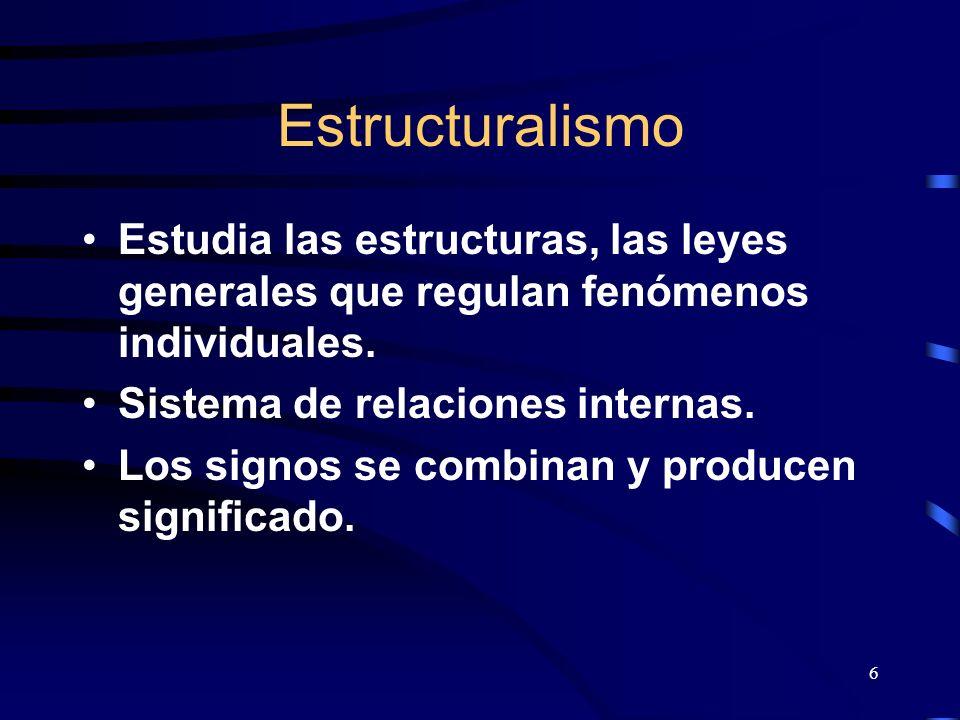 6 Estructuralismo Estudia las estructuras, las leyes generales que regulan fenómenos individuales. Sistema de relaciones internas. Los signos se combi