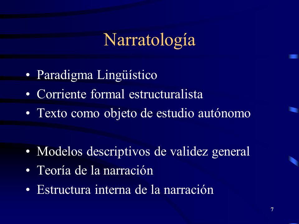 7 Narratología Paradigma Lingüístico Corriente formal estructuralista Texto como objeto de estudio autónomo Modelos descriptivos de validez general Teoría de la narración Estructura interna de la narración
