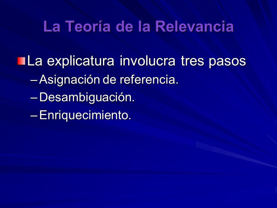 La Teoría de la Relevancia La explicatura involucra tres pasos –Asignación de referencia. –Desambiguación. –Enriquecimiento.