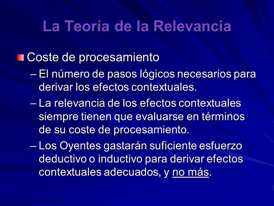 La Teoría de la Relevancia Coste de procesamiento –El número de pasos lógicos necesarios para derivar los efectos contextuales. –La relevancia de los
