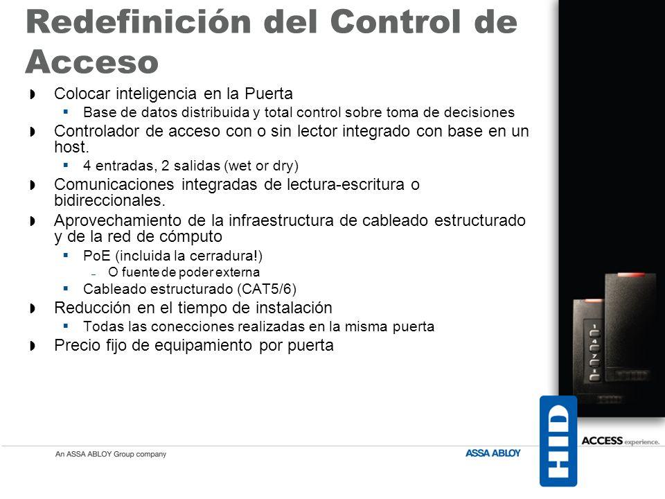 Redefinición del Control de Acceso Colocar inteligencia en la Puerta Base de datos distribuida y total control sobre toma de decisiones Controlador de acceso con o sin lector integrado con base en un host.