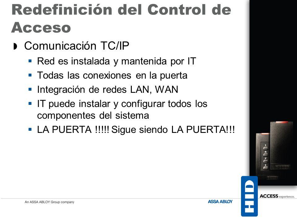 Comunicación TC/IP Red es instalada y mantenida por IT Todas las conexiones en la puerta Integración de redes LAN, WAN IT puede instalar y configurar