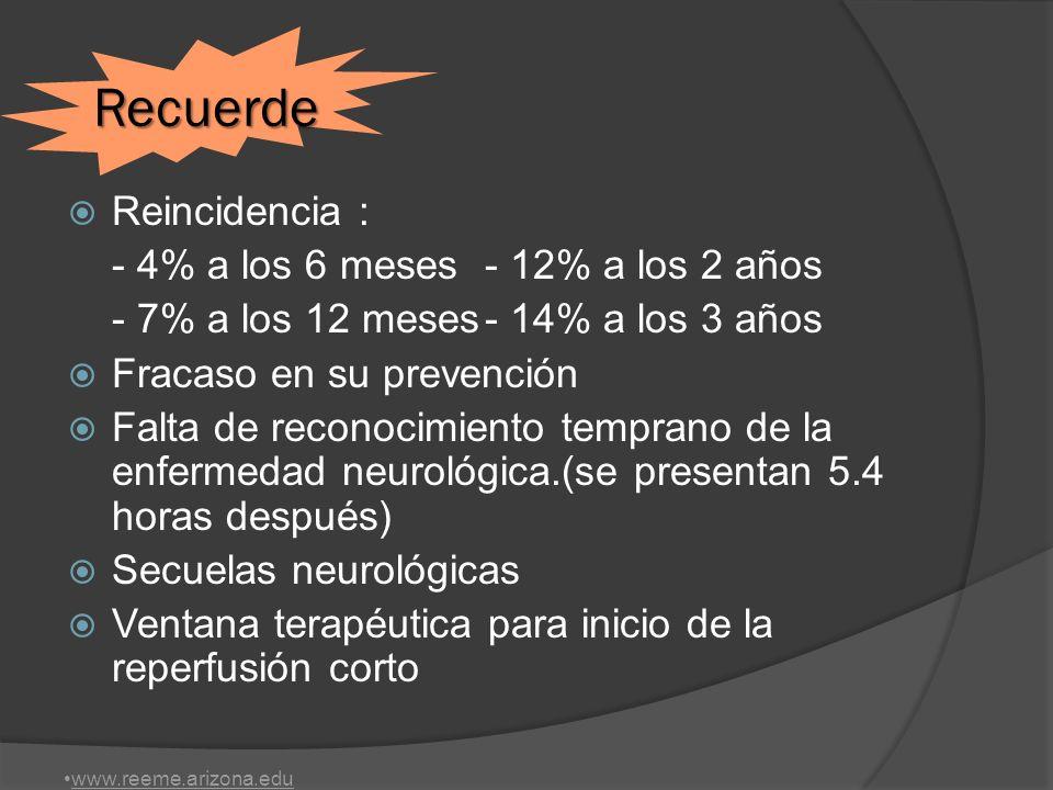 INSTITUTO NACIONAL DE TRANSTORNOS NEUROLOGICOS Y ACV TPA 0,9 mg./K 10% bolo resto en infusión 1 H.