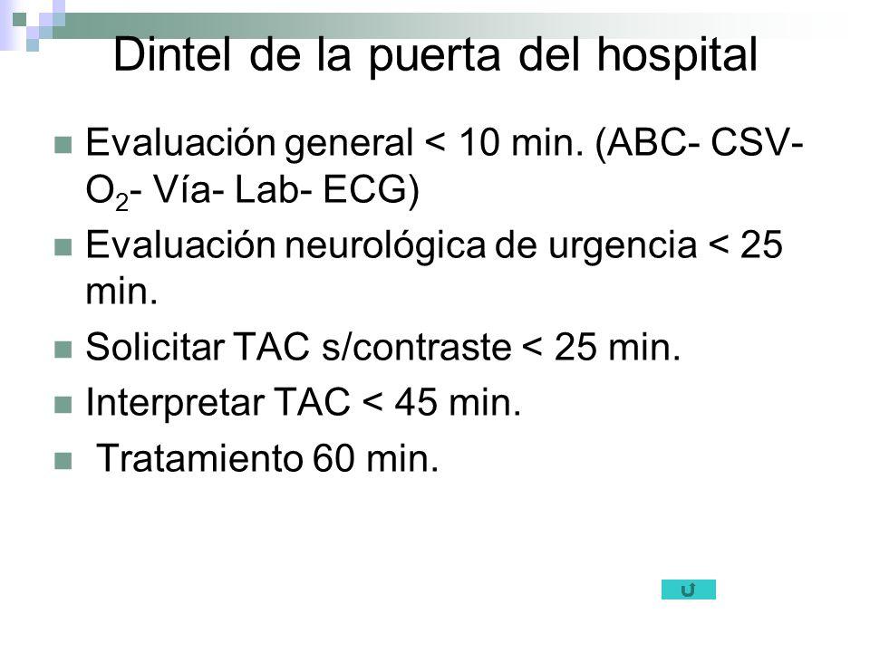 Dintel de la puerta del hospital Evaluación general < 10 min. (ABC- CSV- O 2 - Vía- Lab- ECG) Evaluación neurológica de urgencia < 25 min. Solicitar T
