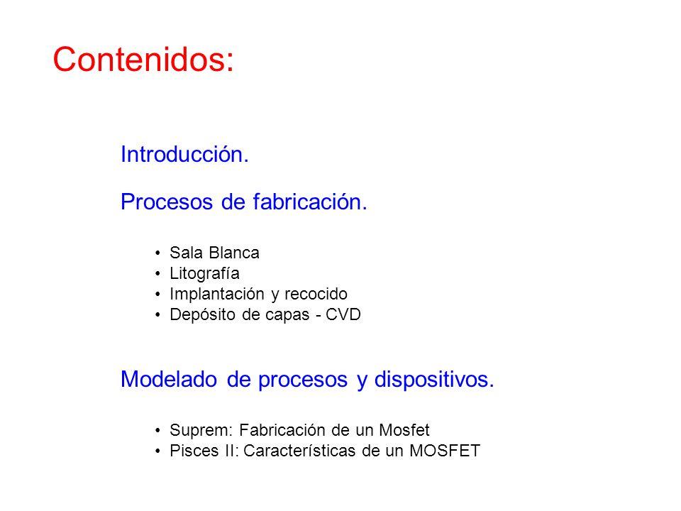 Contenidos: Introducción. Procesos de fabricación. Sala Blanca Litografía Implantación y recocido Depósito de capas - CVD Modelado de procesos y dispo