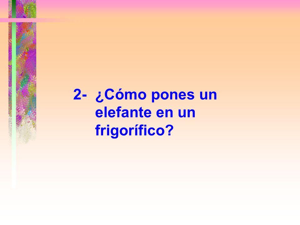 Respuesta correcta: Abrir la puerta del frigorífico, meter la jirafa y cerrar la puerta. Esto comprueba si tiendes a hacer las cosas de un modo fácil