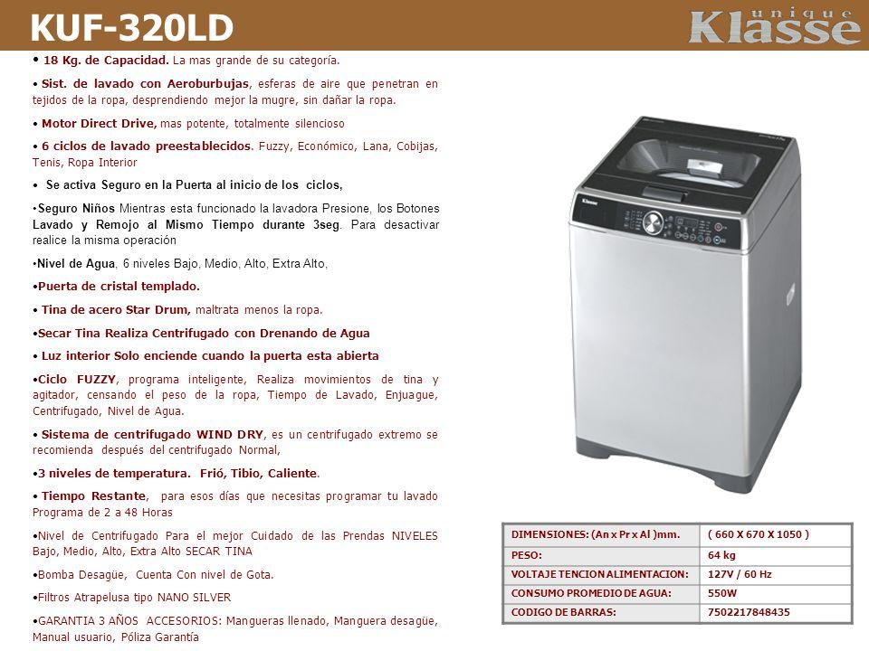KUF-320LD 18 Kg. de Capacidad. La mas grande de su categoría. Sist. de lavado con Aeroburbujas, esferas de aire que penetran en tejidos de la ropa, de