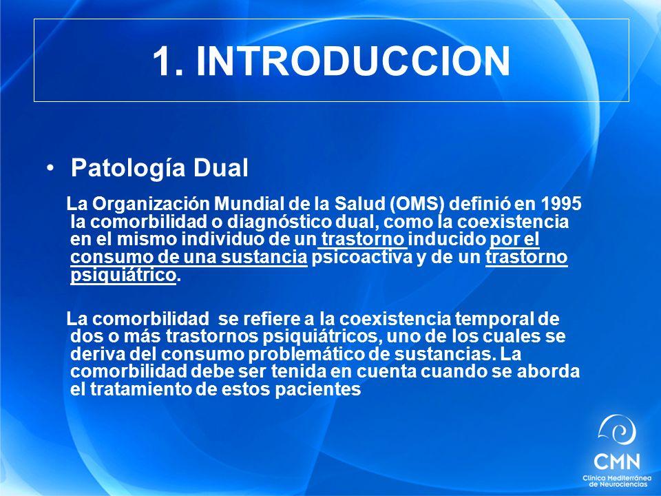 Patología Dual La Organización Mundial de la Salud (OMS) definió en 1995 la comorbilidad o diagnóstico dual, como la coexistencia en el mismo individuo de un trastorno inducido por el consumo de una sustancia psicoactiva y de un trastorno psiquiátrico.