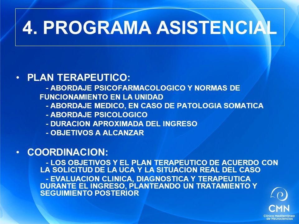 PLAN TERAPEUTICO: - ABORDAJE PSICOFARMACOLOGICO Y NORMAS DE FUNCIONAMIENTO EN LA UNIDAD - ABORDAJE MEDICO, EN CASO DE PATOLOGIA SOMATICA - ABORDAJE PSICOLOGICO - DURACION APROXIMADA DEL INGRESO - OBJETIVOS A ALCANZAR COORDINACION: - LOS OBJETIVOS Y EL PLAN TERAPEUTICO DE ACUERDO CON LA SOLICITUD DE LA UCA Y LA SITUACION REAL DEL CASO - EVALUACION CLINICA, DIAGNOSTICA Y TERAPEUTICA DURANTE EL INGRESO, PLANTEANDO UN TRATAMIENTO Y SEGUIMIENTO POSTERIOR 4.