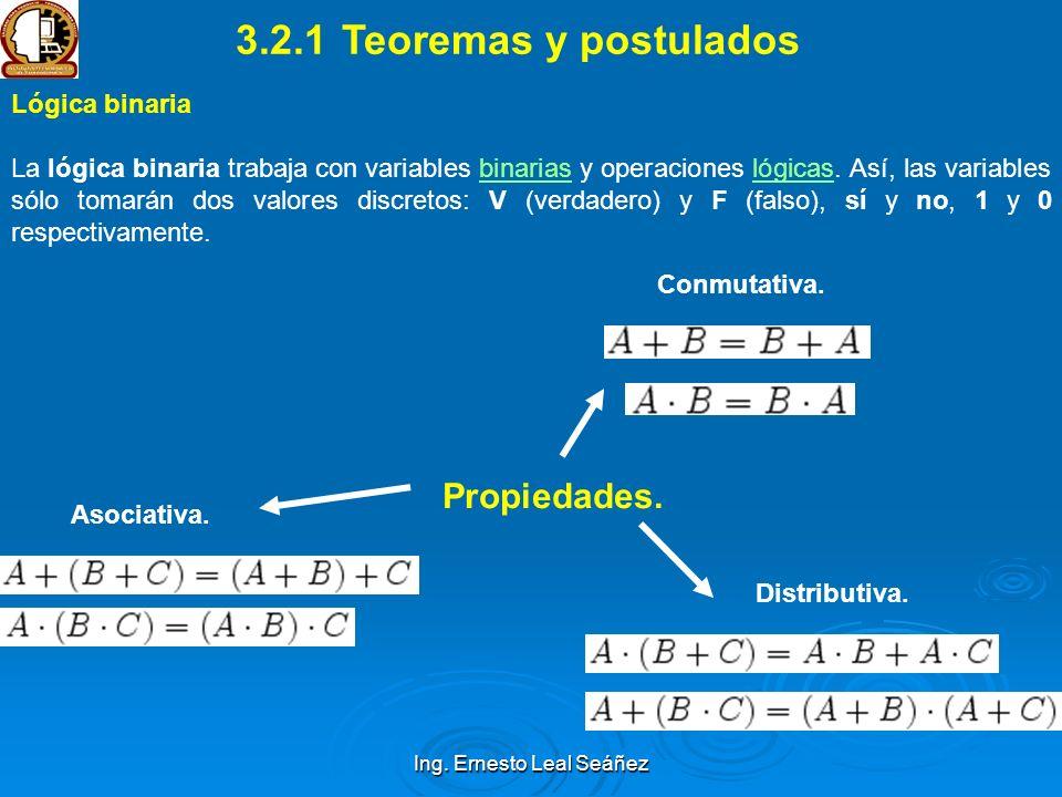Ing. Ernesto Leal Seáñez Lógica binaria La lógica binaria trabaja con variables binarias y operaciones lógicas. Así, las variables sólo tomarán dos va