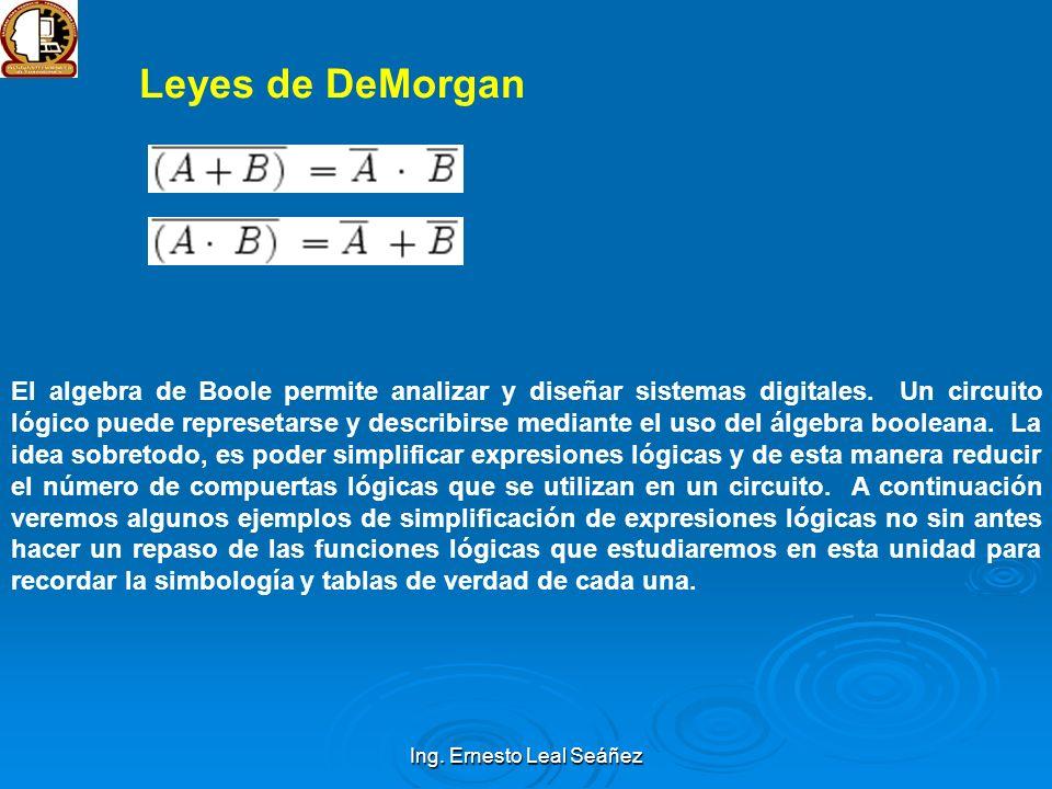 Leyes de DeMorgan El algebra de Boole permite analizar y diseñar sistemas digitales. Un circuito lógico puede represetarse y describirse mediante el u