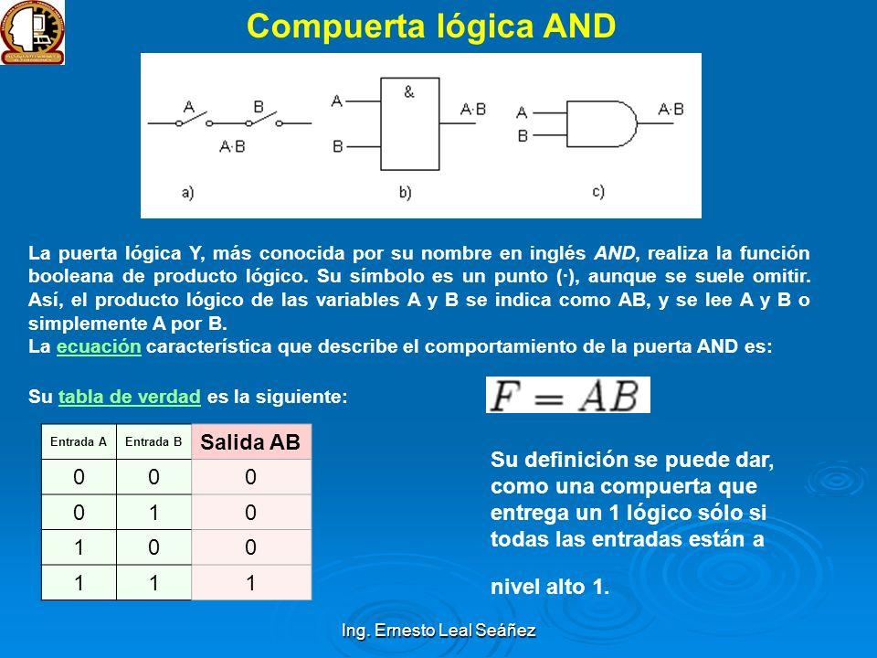 Ing. Ernesto Leal Seáñez Compuerta lógica AND La puerta lógica Y, más conocida por su nombre en inglés AND, realiza la función booleana de producto ló