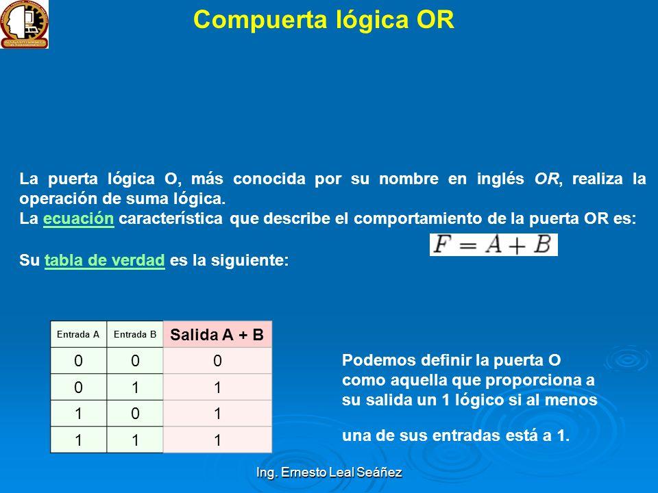 Ing. Ernesto Leal Seáñez Compuerta lógica OR La puerta lógica O, más conocida por su nombre en inglés OR, realiza la operación de suma lógica. La ecua