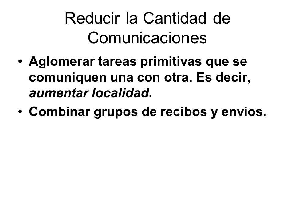Reducir la Cantidad de Comunicaciones Aglomerar tareas primitivas que se comuniquen una con otra. Es decir, aumentar localidad. Combinar grupos de rec