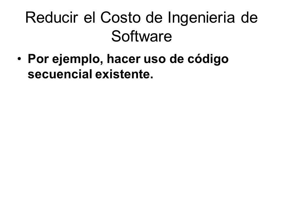Reducir el Costo de Ingenieria de Software Por ejemplo, hacer uso de código secuencial existente.
