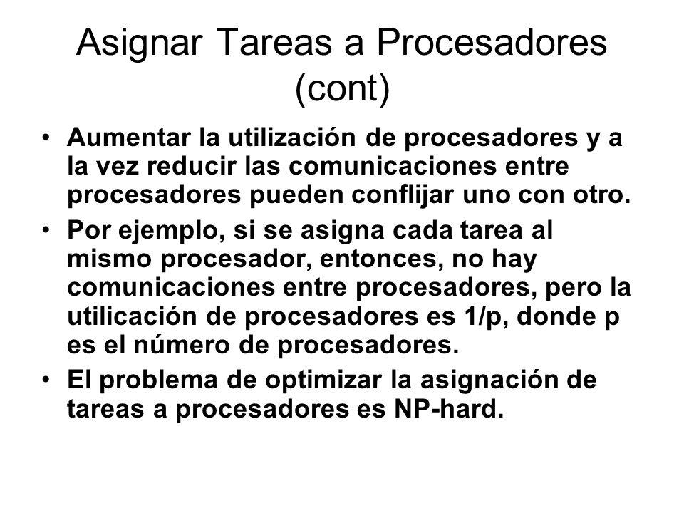 Asignar Tareas a Procesadores (cont) Aumentar la utilización de procesadores y a la vez reducir las comunicaciones entre procesadores pueden conflijar uno con otro.